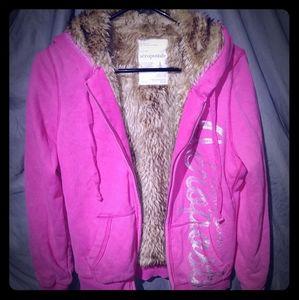 Aeropostle girls faux fur lined hooded jacket